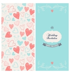 Romantic wedding invitation 2 sides vector
