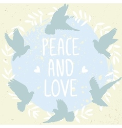 Doves peace and love vector