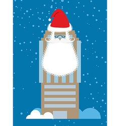Building of santa claus skyscraper with beard and vector
