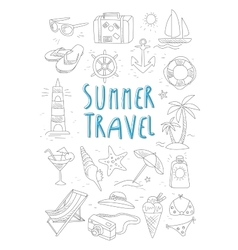 Summer travel and tourism handdrawn set vector