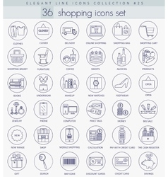 Shopping outline icon set elegant thin vector