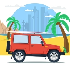Summer jeep car on beach with palm vector