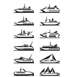 Passenger ships and yachts vector