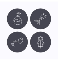 Scissors watering can and watering can icons vector