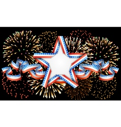 American background with star and fireworks vector image vector image