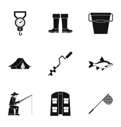 Angling icons set simple style vector