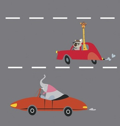 Animals on the road vector