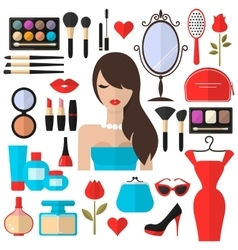 Beauty Cosmetic and Makeup flat Icons Set vector image vector image