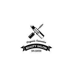 beauty salon label mascara for eyelashes lipstick vector image vector image