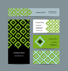 Business cards design geometric fabric pattern vector