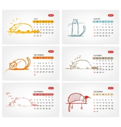 calendar 2012 july Funny cats design vector image vector image
