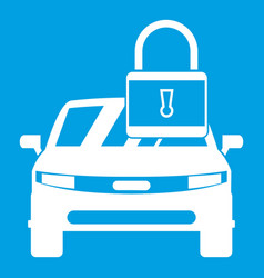 Car with padlock icon white vector