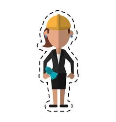 cartoon woman with megaphone work helmet vector image