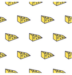 Cheese line icon seamless pattern vector