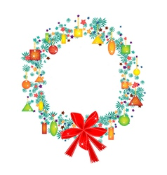 Christmas wreath with price tag and red bow vector