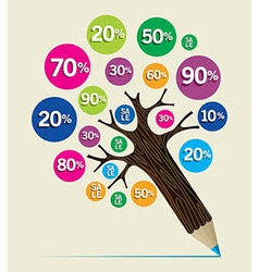 Discount concept pencil tree vector