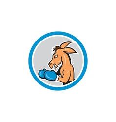 Donkey boxing side view circle cartoon vector