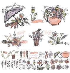Doodle flowers bouquethand sketched elements kit vector image