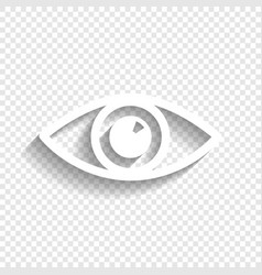 Eye sign white icon with vector