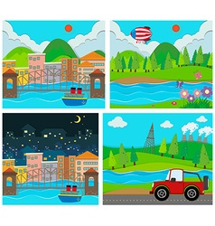 Four scene of rural and urban area vector