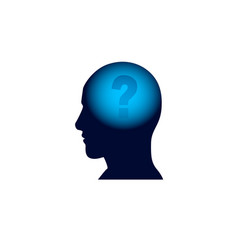 Head with question mark in brain brainstorm vector