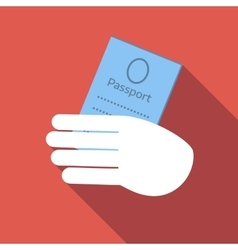 Hold passport colored flat icon vector