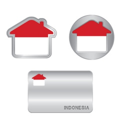Home icon on the indonesia flag vector