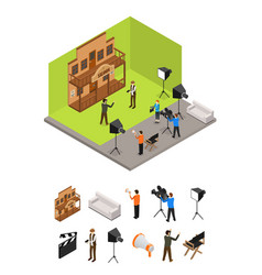 interior television studio and elements part vector image