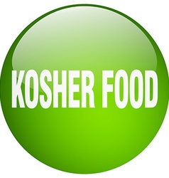 Kosher food green round gel isolated push button vector