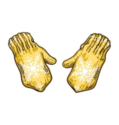 Pair of bright yellow winter knitted mittens with vector image vector image