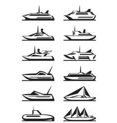 Passenger ships and yachts vector image
