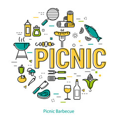 picnic barbecue - round linear concept vector image