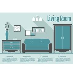 Retro flat living room interior vector