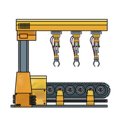 Robotic arm assemble line mechanic manufacturing vector