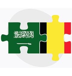 Saudi arabia and belgium flags vector