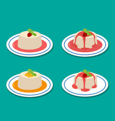 set of panna cotta in flat style vector image vector image