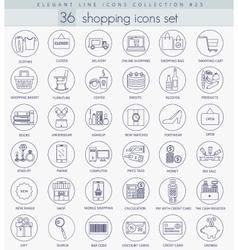 shopping outline icon set Elegant thin vector image
