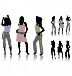 silhouettes of dancing girls vector image vector image