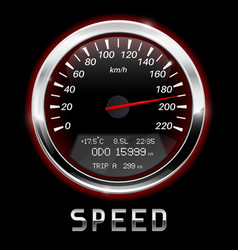 speedometer black gauge with chrome frame vector image vector image