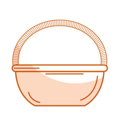 Straw basket isolated icon vector