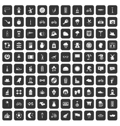 100 bicycle icons set black vector