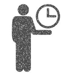 Waiter clock grainy texture icon vector