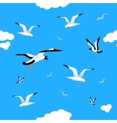 Gulls and clouds in the blue sky seamless vector