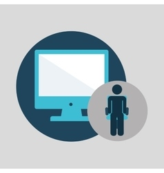 business silhouette man computer vector image