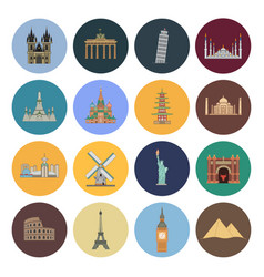 15 flat landmark icons vector image