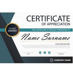 Blue black elegance horizontal certificate vector