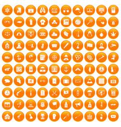 100 crime investigation icons set orange vector