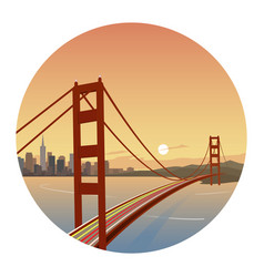 San francisco scene round icon vector