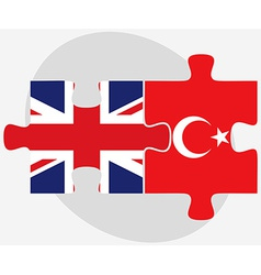 United kingdom and turkey flags in puzzle vector