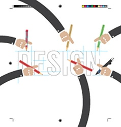 Hand with pencils with print calibration elements vector